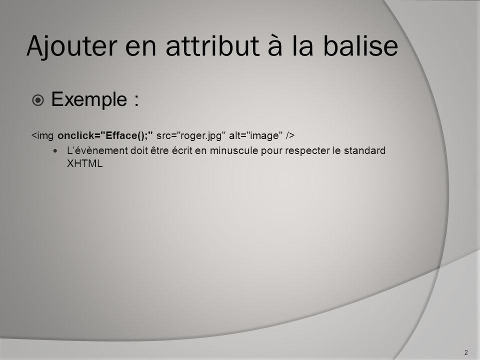Ajouter en attribut à la balise  Exemple : L'évènement doit être écrit en minuscule pour respecter le standard XHTML 2