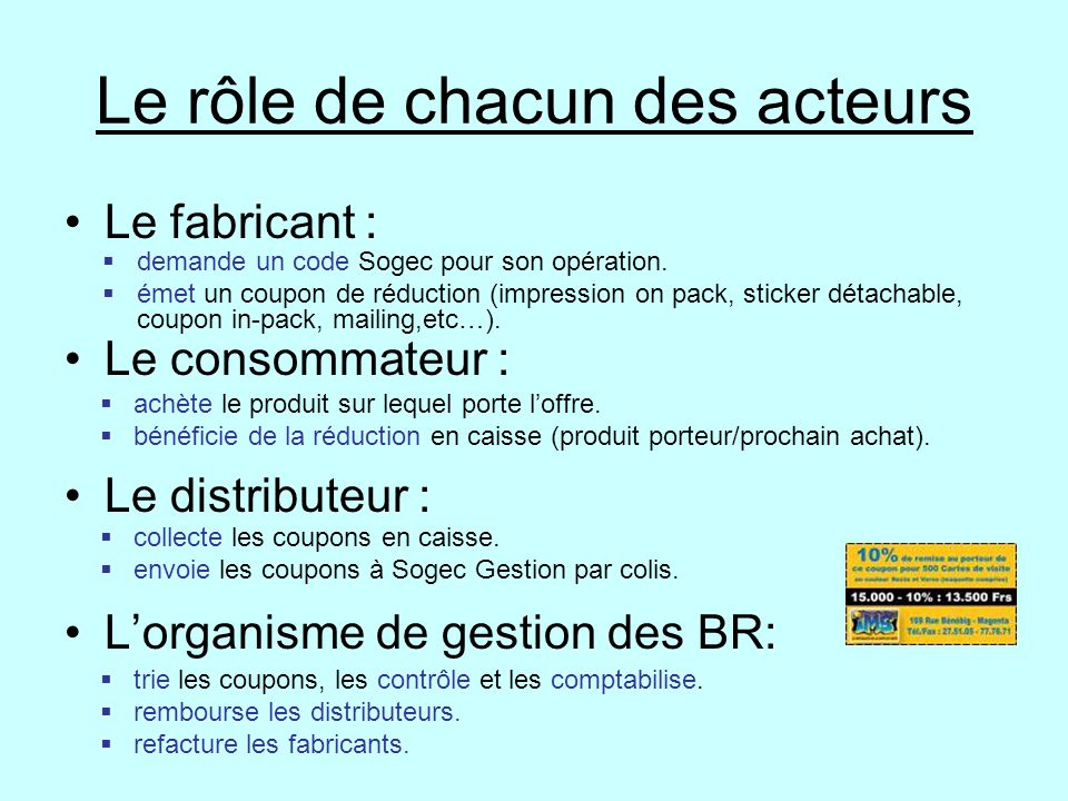 Le rôle de chacun des acteurs Le fabricant : Le consommateur : Le distributeur : L'organisme de gestion des BR:  demande un code Sogec pour son opéra