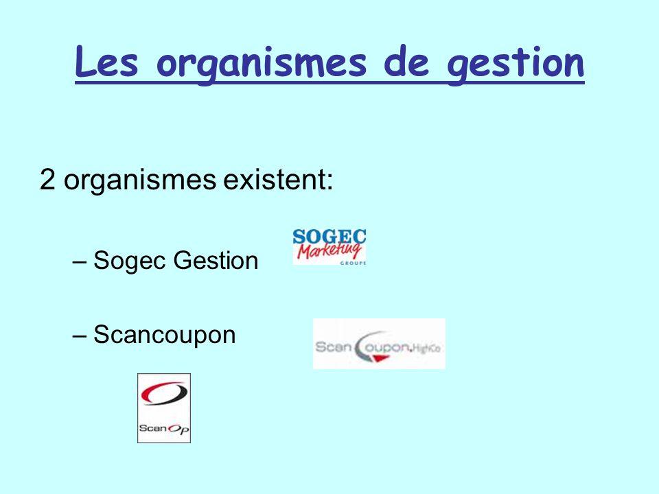 Les organismes de gestion 2 organismes existent: –Sogec Gestion –Scancoupon