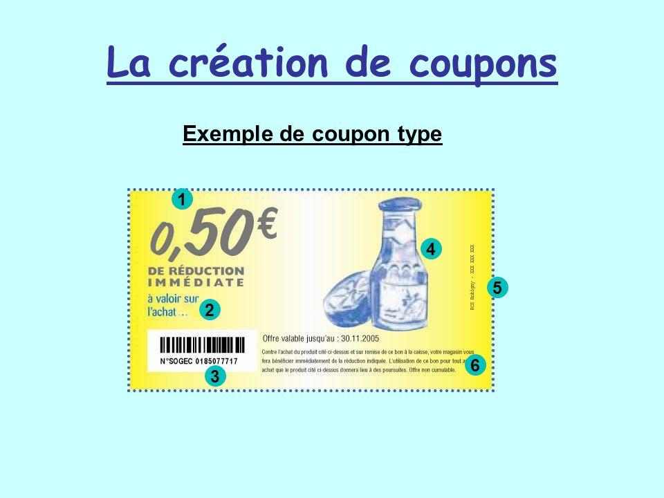 La création de coupons Exemple de coupon type 1 2 3 4 5 6