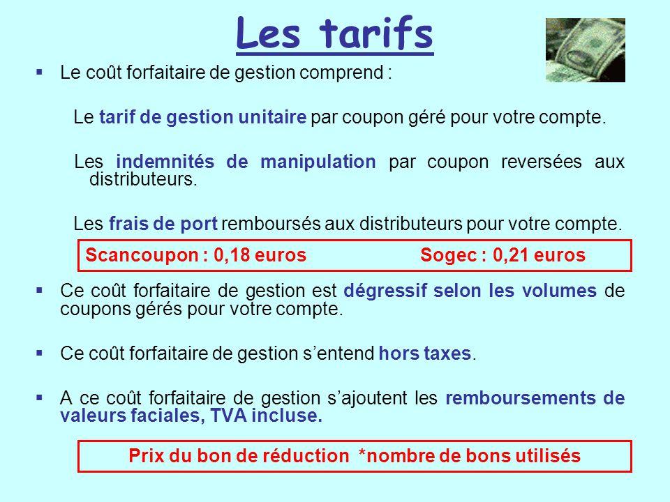 Les tarifs  Le coût forfaitaire de gestion comprend : Le tarif de gestion unitaire par coupon géré pour votre compte. Les indemnités de manipulation
