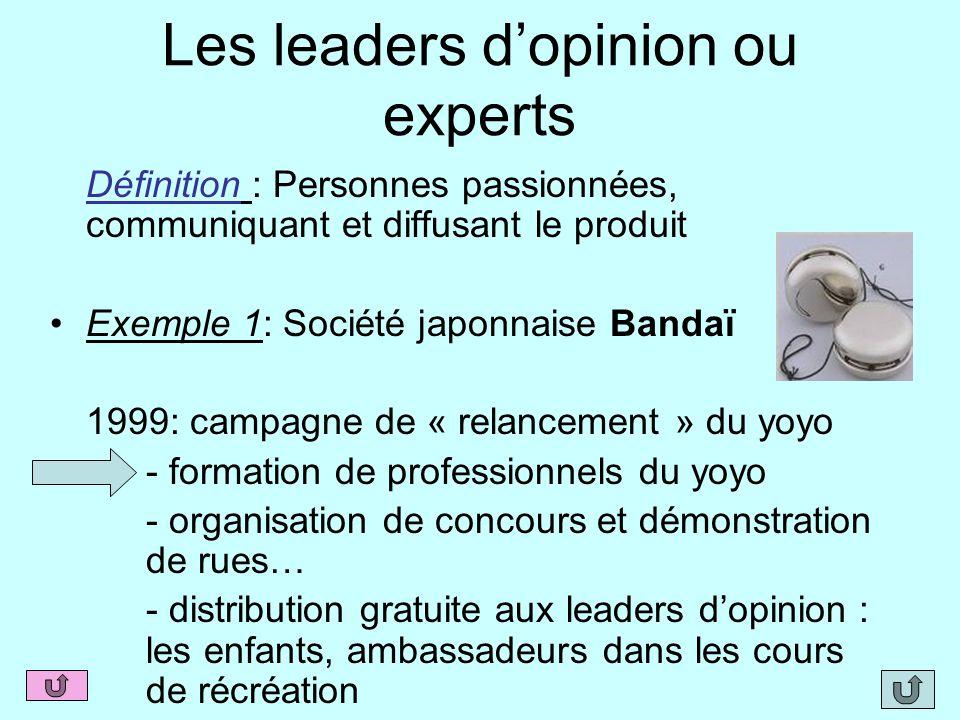 Les leaders d'opinion ou experts Définition : Personnes passionnées, communiquant et diffusant le produit Exemple 1: Société japonnaise Bandaï 1999: c
