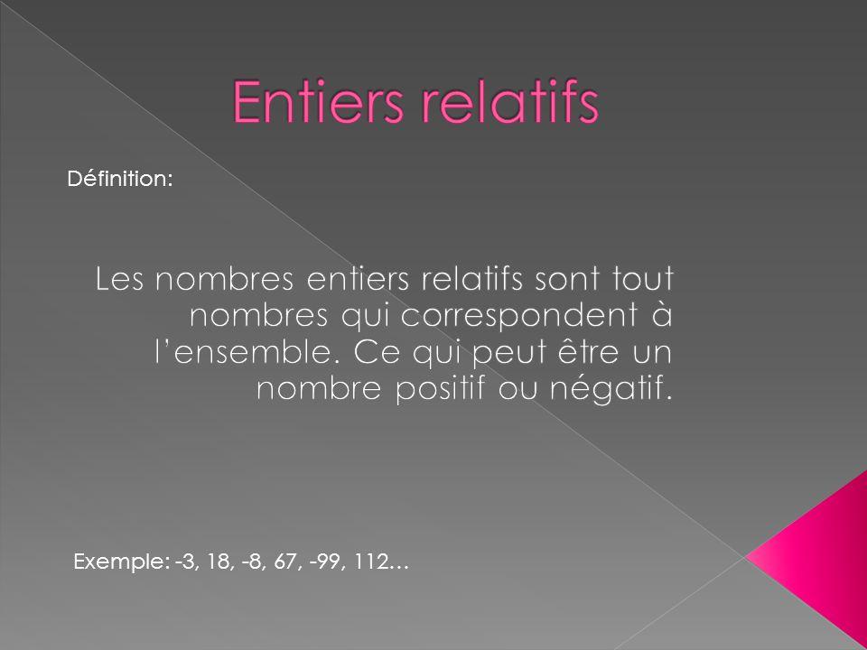 Définition: Exemple: -3, 18, -8, 67, -99, 112…