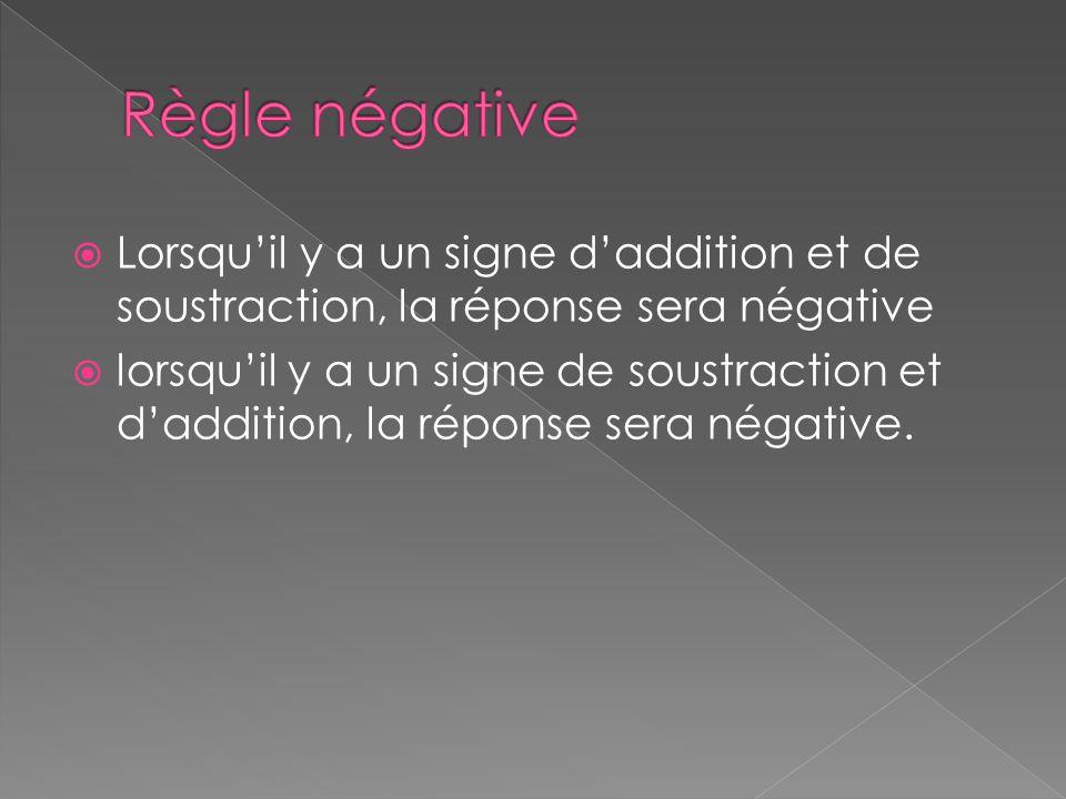  Lorsqu'il y a un signe d'addition et de soustraction, la réponse sera négative  lorsqu'il y a un signe de soustraction et d'addition, la réponse se