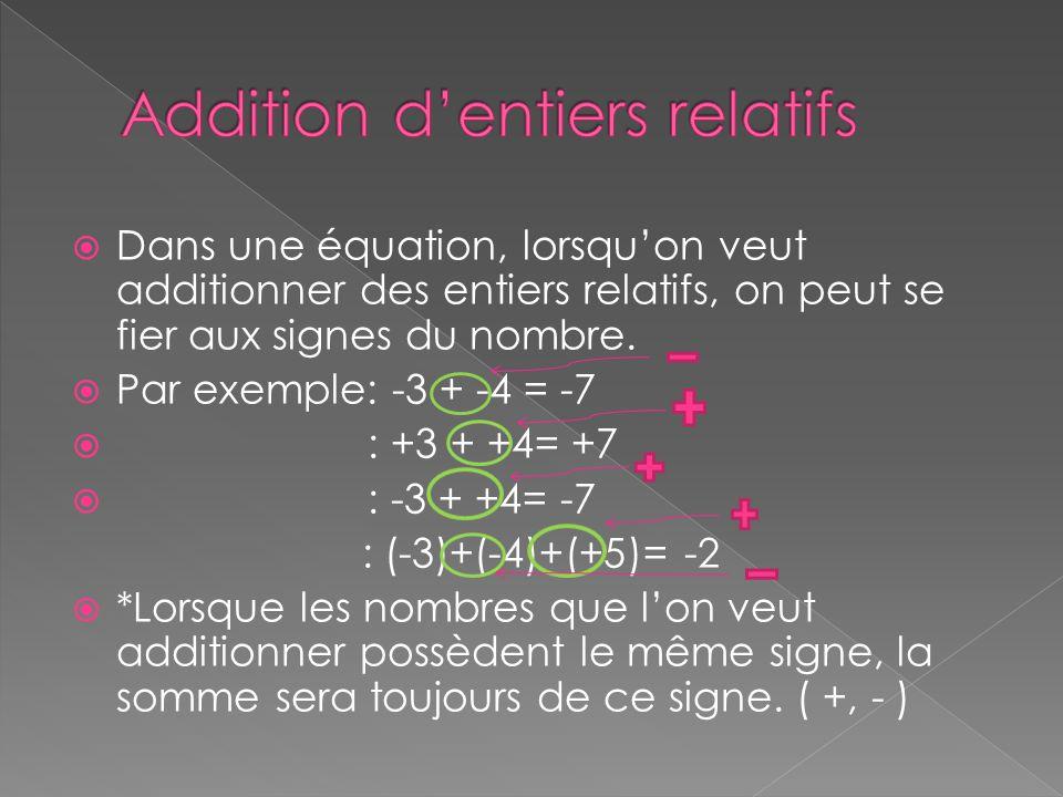  Dans une équation, lorsqu'on veut additionner des entiers relatifs, on peut se fier aux signes du nombre.  Par exemple: -3 + -4 = -7  : +3 + +4= +