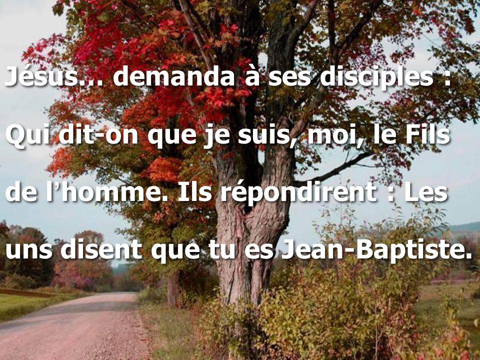Jésus… demanda à ses disciples : Qui dit-on que je suis, moi, le Fils de l ' homme. Ils répondirent : Les uns disent que tu es Jean-Baptiste. Jésus… d