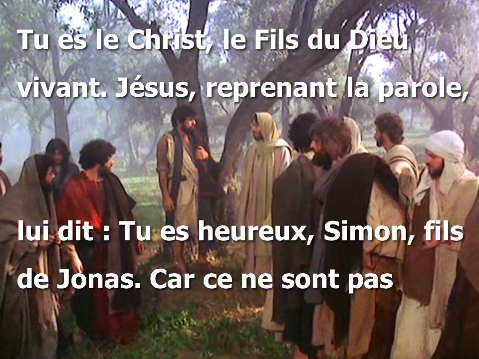 Tu es le Christ, le Fils du Dieu vivant. Jésus, reprenant la parole, lui dit : Tu es heureux, Simon, fils de Jonas. Car ce ne sont pas Tu es le Christ