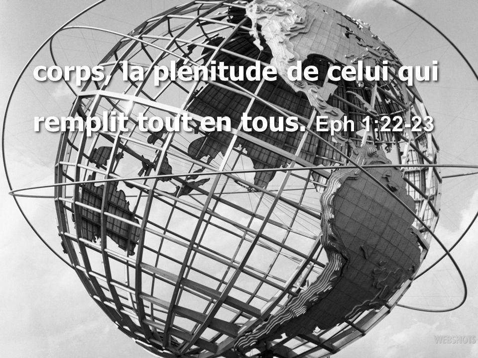 corps, la plénitude de celui qui remplit tout en tous. Eph 1:22-23 corps, la plénitude de celui qui remplit tout en tous. Eph 1:22-23