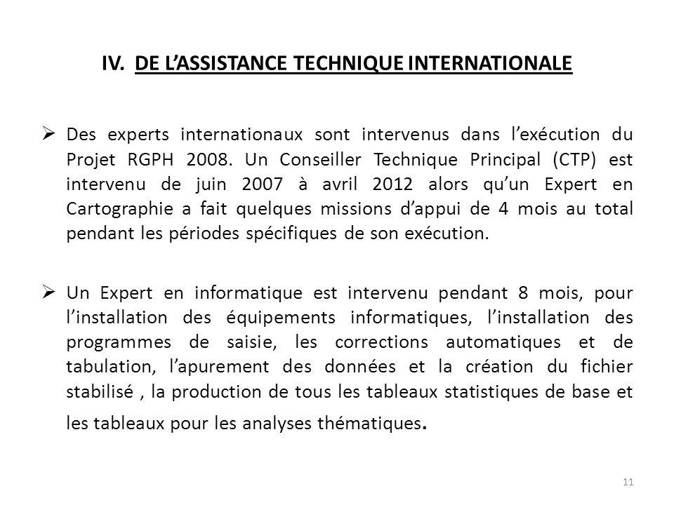 IV. DE L'ASSISTANCE TECHNIQUE INTERNATIONALE  Des experts internationaux sont intervenus dans l'exécution du Projet RGPH 2008. Un Conseiller Techniqu