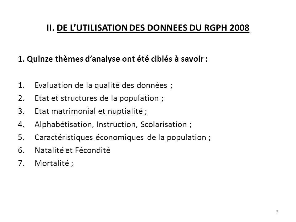 II.DE L'UTILISATION DES DONNEES DU RGPH 2008 1.