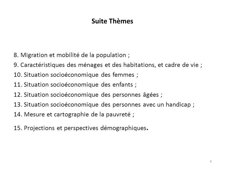 Suite Thèmes 8.Migration et mobilité de la population ; 9.