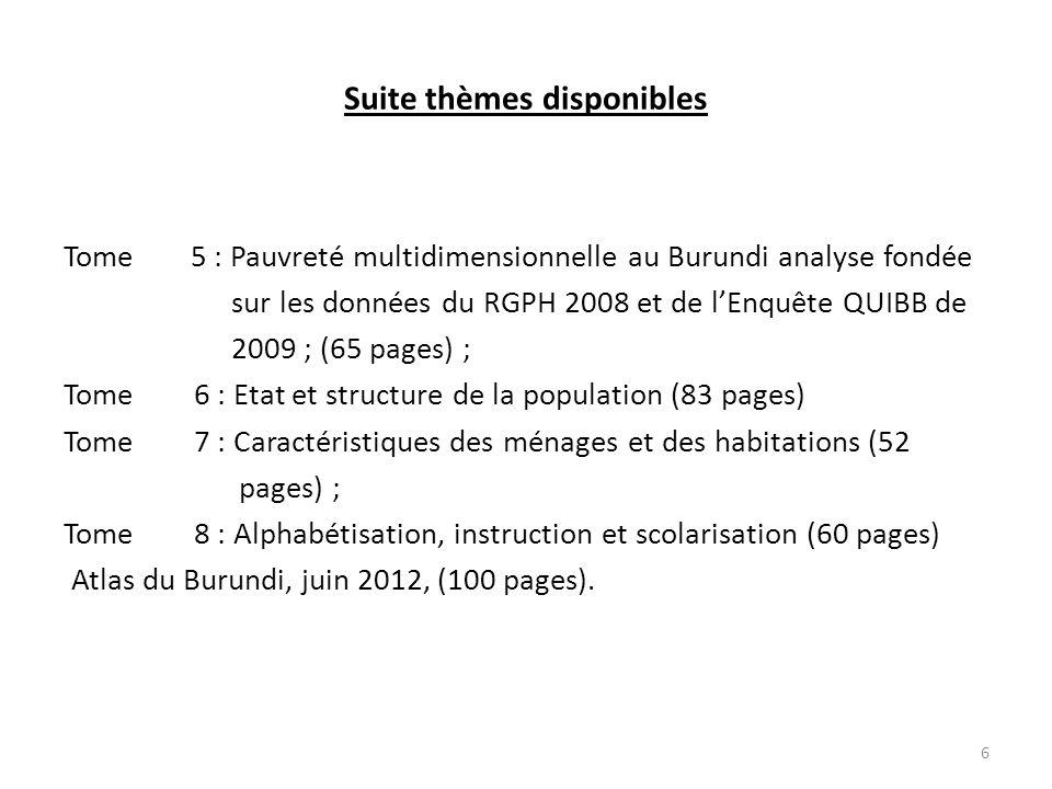 Suite thèmes disponibles Tome 5 : Pauvreté multidimensionnelle au Burundi analyse fondée sur les données du RGPH 2008 et de l'Enquête QUIBB de 2009 ; (65 pages) ; Tome 6 : Etat et structure de la population (83 pages) Tome 7 : Caractéristiques des ménages et des habitations (52 pages) ; Tome 8 : Alphabétisation, instruction et scolarisation (60 pages) Atlas du Burundi, juin 2012, (100 pages).