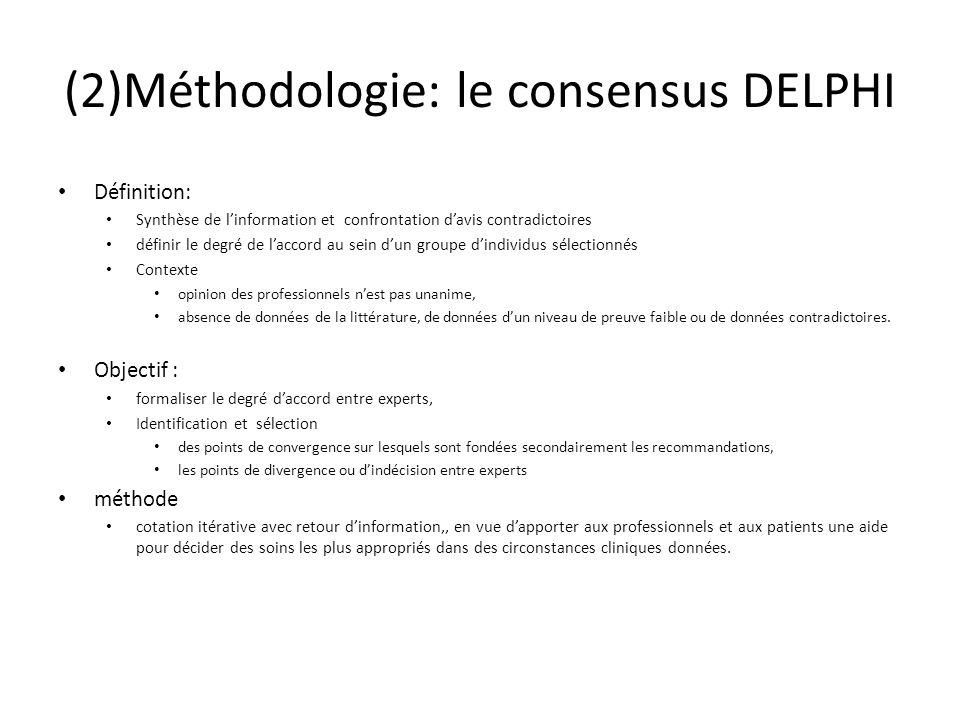(2)Méthodologie: le consensus DELPHI Définition: Synthèse de l'information et confrontation d'avis contradictoires définir le degré de l'accord au sein d'un groupe d'individus sélectionnés Contexte opinion des professionnels n'est pas unanime, absence de données de la littérature, de données d'un niveau de preuve faible ou de données contradictoires.