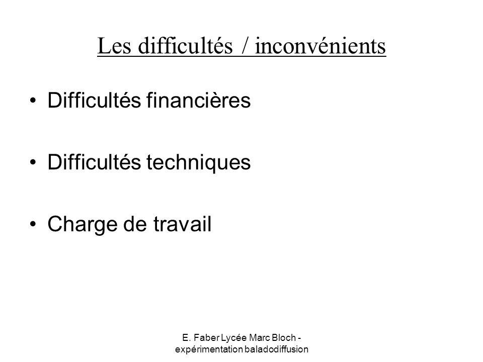E. Faber Lycée Marc Bloch - expérimentation baladodiffusion Les difficultés / inconvénients Difficultés financières Difficultés techniques Charge de t