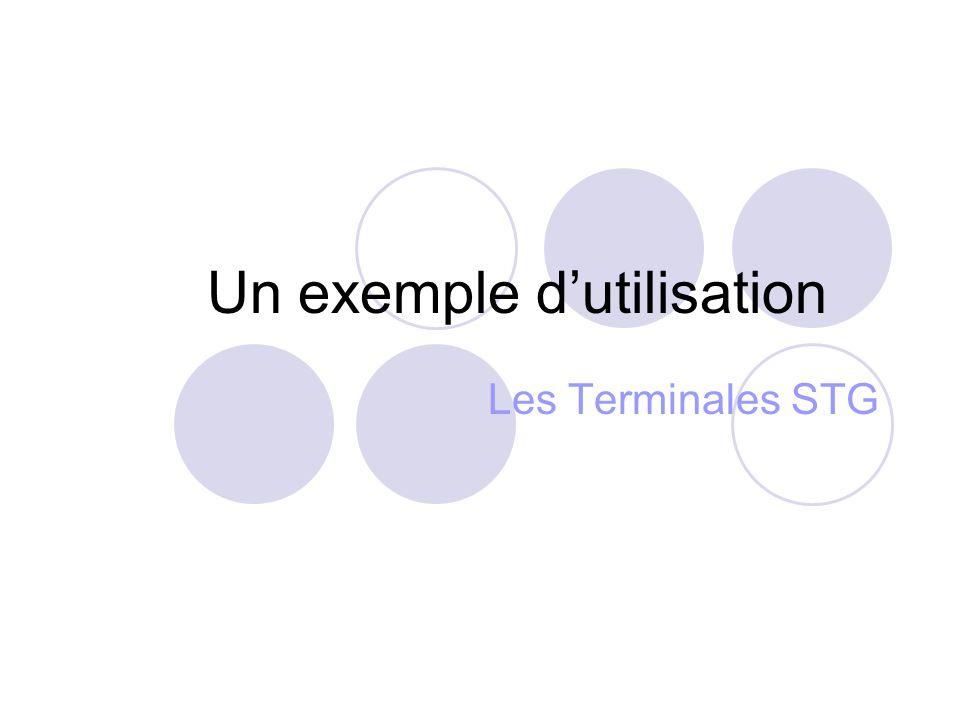Un exemple d'utilisation Les Terminales STG