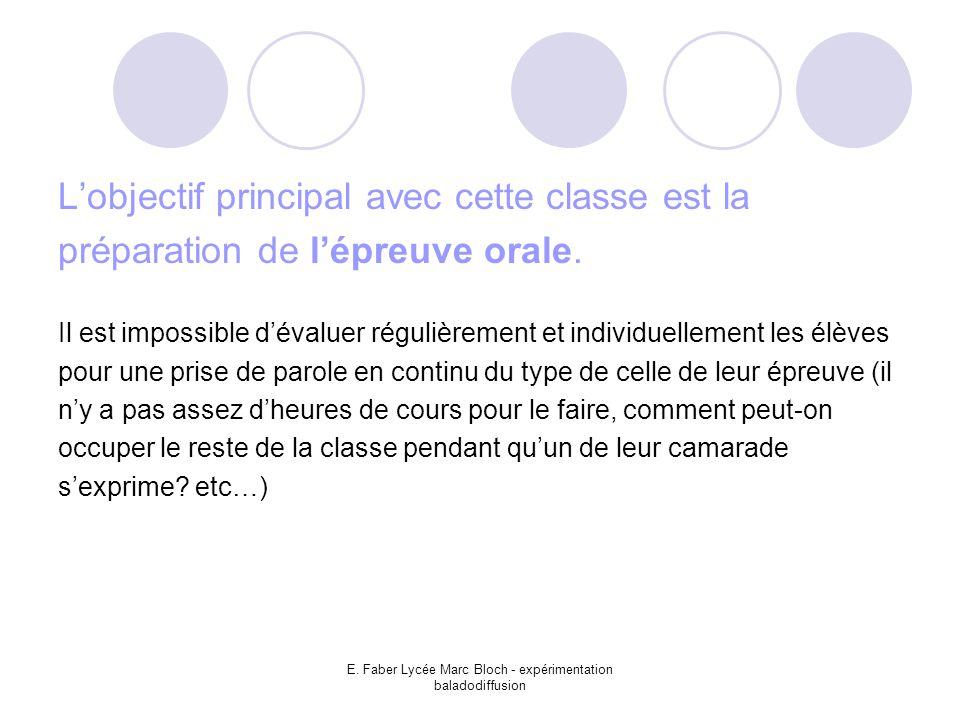E. Faber Lycée Marc Bloch - expérimentation baladodiffusion L'objectif principal avec cette classe est la préparation de l'épreuve orale. Il est impos