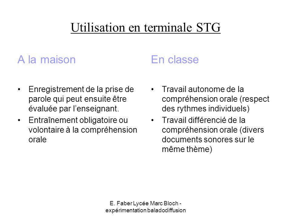 E. Faber Lycée Marc Bloch - expérimentation baladodiffusion Utilisation en terminale STG A la maison Enregistrement de la prise de parole qui peut ens