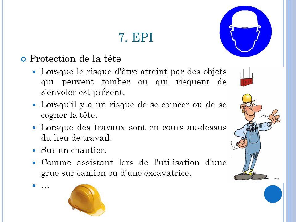 7. EPI Protection de la tête Lorsque le risque d'être atteint par des objets qui peuvent tomber ou qui risquent de s'envoler est présent. Lorsqu'il y