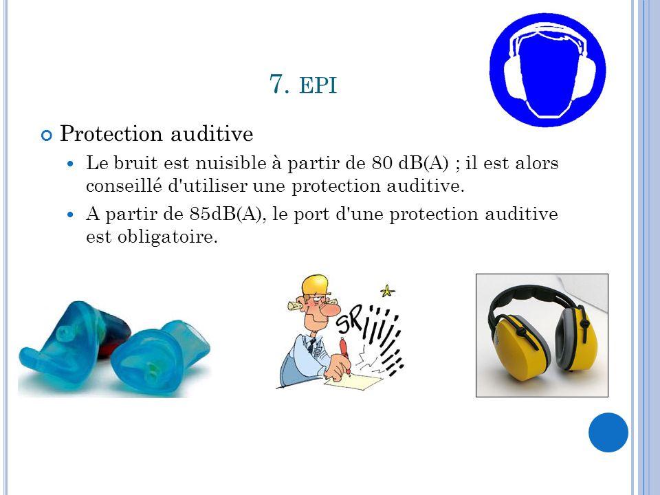 7. EPI Protection auditive Le bruit est nuisible à partir de 80 dB(A) ; il est alors conseillé d'utiliser une protection auditive. A partir de 85dB(A)