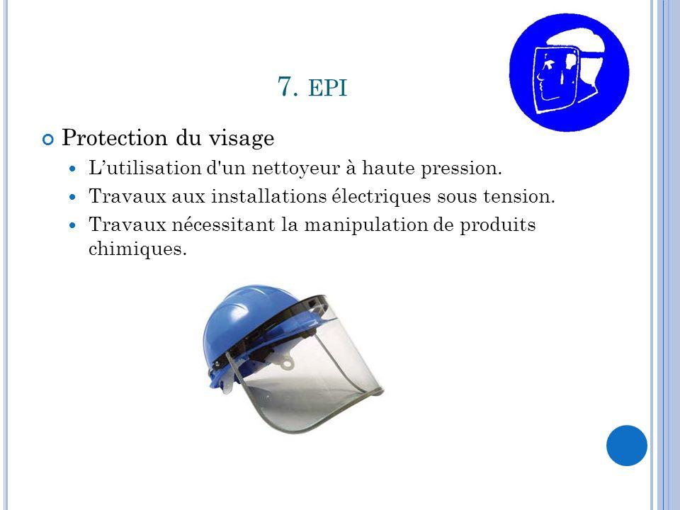 7.EPI Protection du visage L'utilisation d un nettoyeur à haute pression.