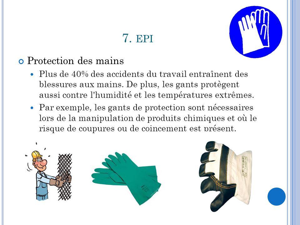 7. EPI Protection des mains Plus de 40% des accidents du travail entraînent des blessures aux mains. De plus, les gants protègent aussi contre l'humid