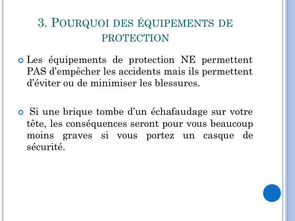 3. P OURQUOI DES ÉQUIPEMENTS DE PROTECTION Les équipements de protection NE permettent PAS d'empêcher les accidents mais ils permettent d'éviter ou de