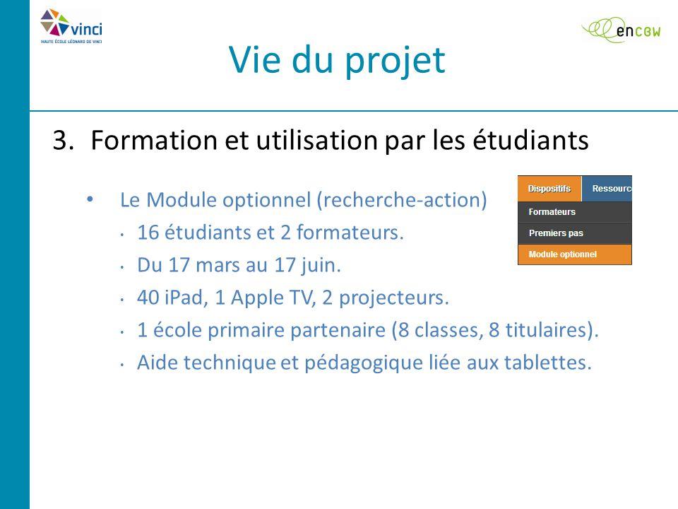 3.Formation et utilisation par les étudiants Le Module optionnel (recherche-action) 16 étudiants et 2 formateurs.