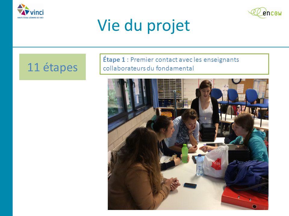 Vie du projet Étape 1 : Premier contact avec les enseignants collaborateurs du fondamental