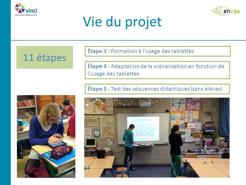 Vie du projet Étape 3 : Formation à l'usage des tablettes Étape 4 : Adaptation de la scénarisation en fonction de l'usage des tablettes Étape 5 : Test des séquences didactiques (sans élèves)