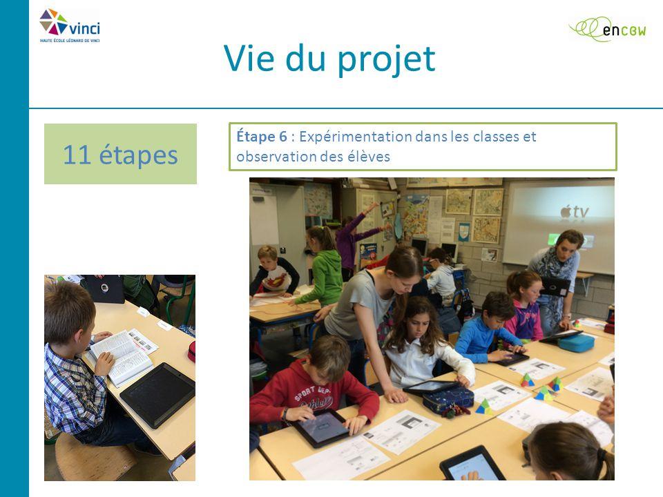 11 étapes Vie du projet Étape 6 : Expérimentation dans les classes et observation des élèves