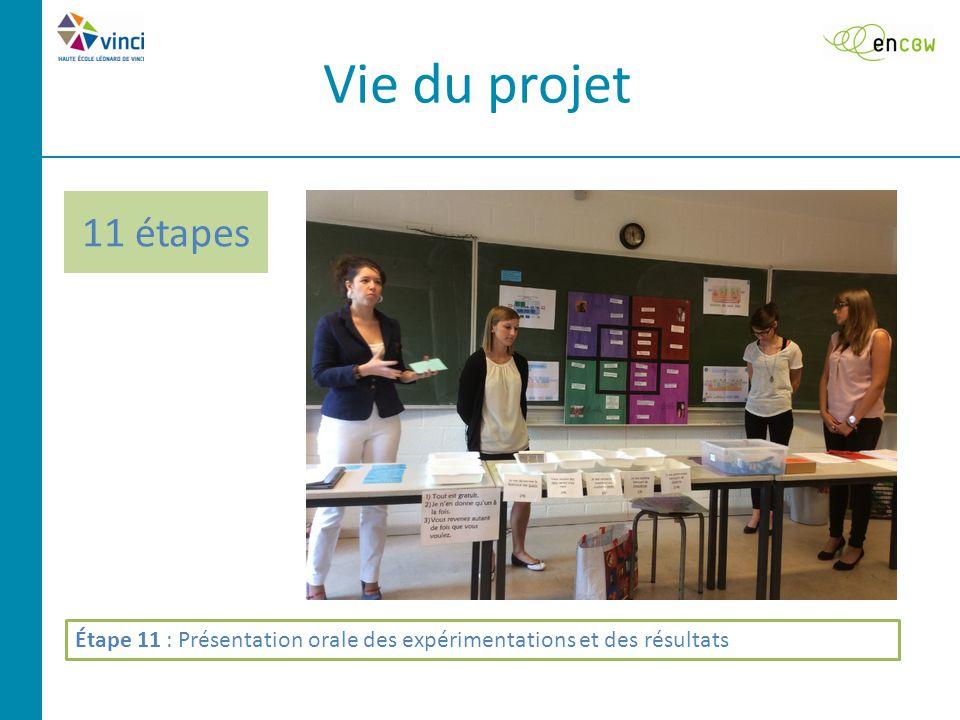 11 étapes Vie du projet Étape 11 : Présentation orale des expérimentations et des résultats