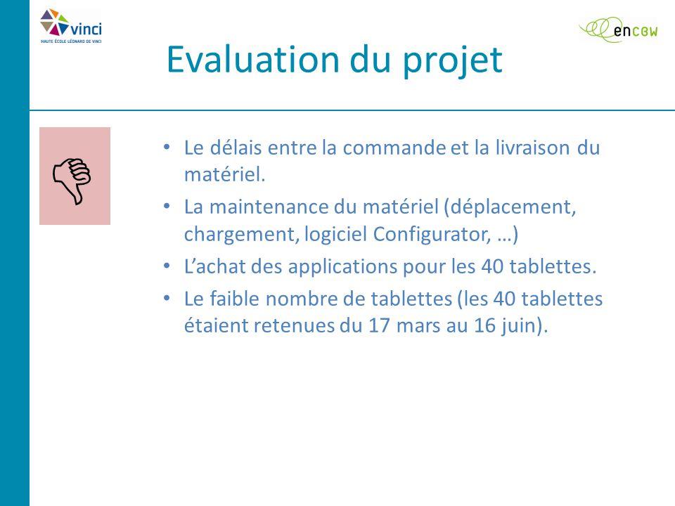 Evaluation du projet  Le délais entre la commande et la livraison du matériel.
