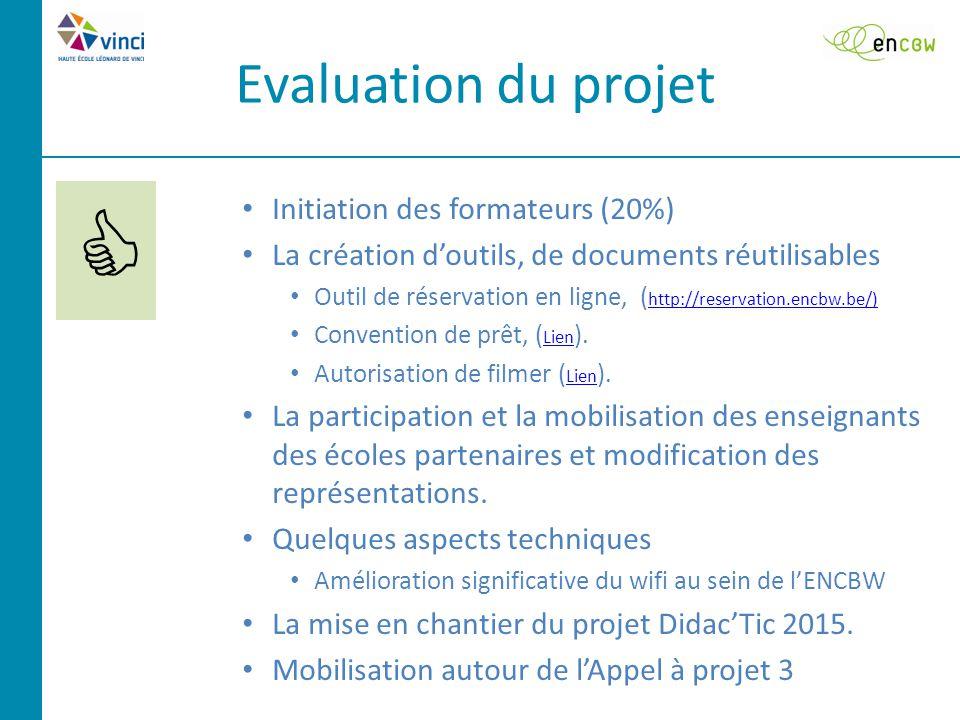 Evaluation du projet  Initiation des formateurs (20%) La création d'outils, de documents réutilisables Outil de réservation en ligne, ( http://reservation.encbw.be/) http://reservation.encbw.be/) Convention de prêt, ( Lien ).