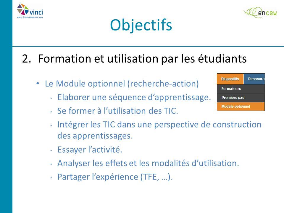 2.Formation et utilisation par les étudiants Le Module optionnel (recherche-action) Elaborer une séquence d'apprentissage.