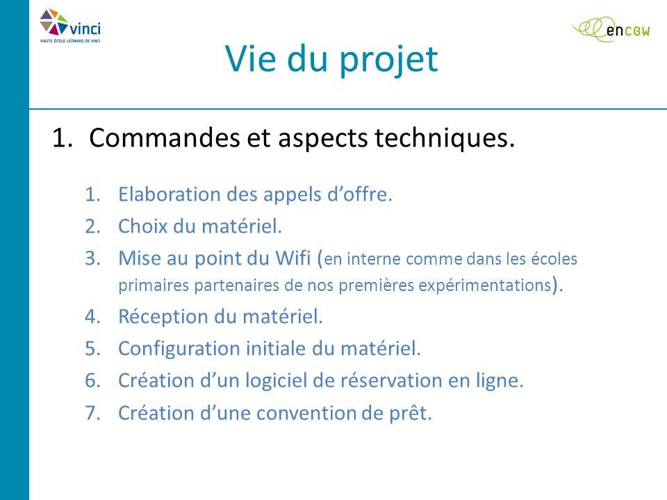 Vie du projet 1.Commandes et aspects techniques. 1.Elaboration des appels d'offre.