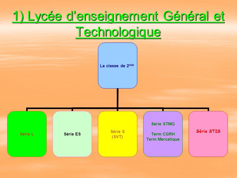 Les Enseignements Lycée Général et Technologique:  La classe de Seconde  Les séries Générales: L, ES, S  Les séries Technologiques: STMG et ST2S La