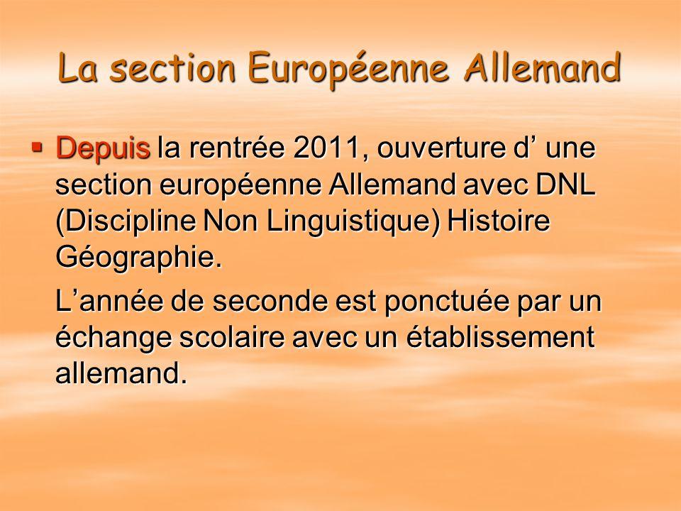 La Section Européenne Anglais Section européenne ANGLAIS :  Etude de l'anglais LV1 approfondi  Ouverture sur l'Europe  Étude de la civilisation des