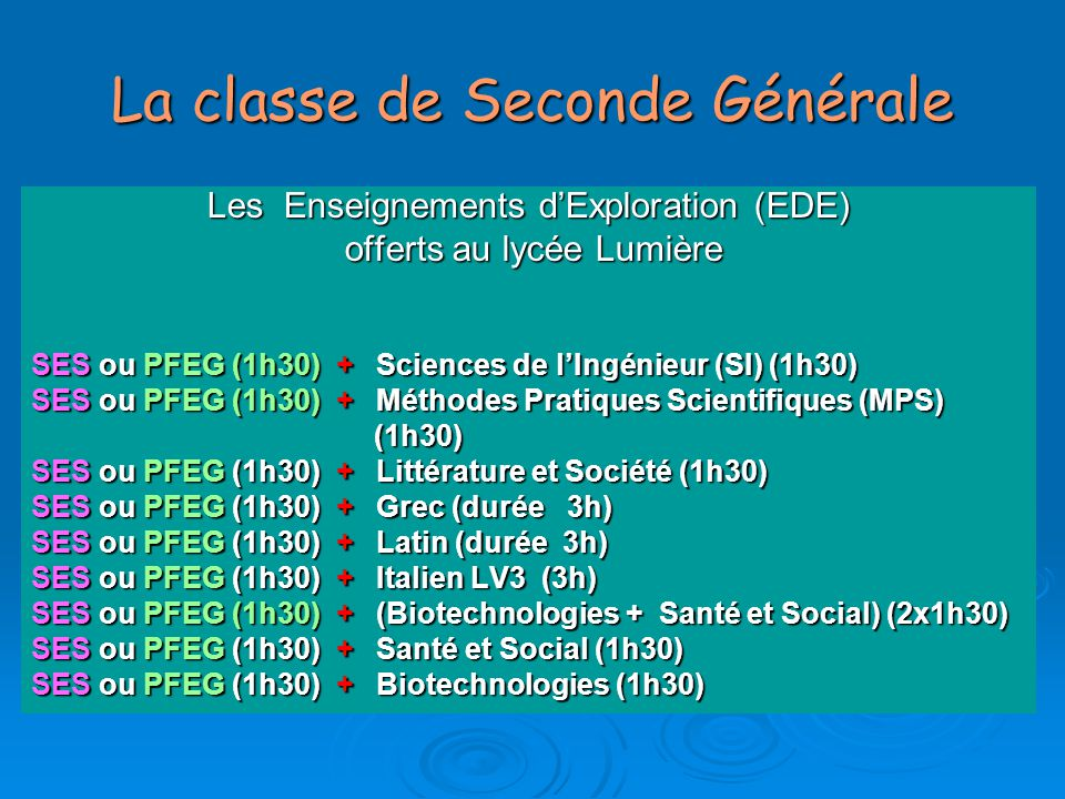 La classe de Seconde Générale ENSEIGNEMENTS COMMUNS  Français 4H00  Mathématiques 4H00  Physique/Chimie 3H00  SVT 1H30  LV1 & LV2 1H30  Histoire