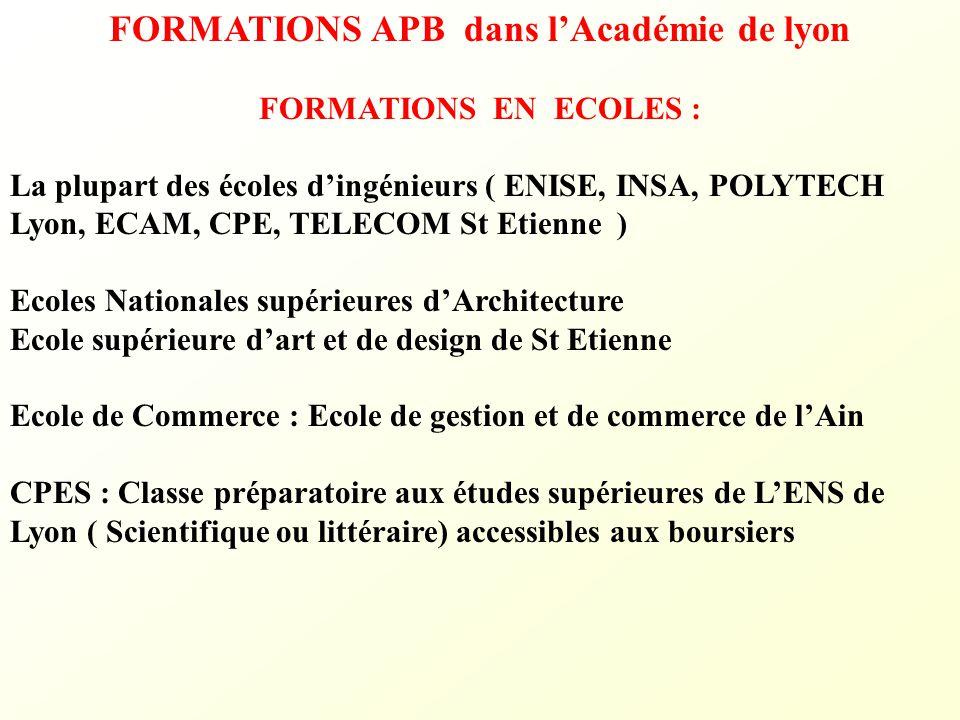 FORMATIONS APB dans l'Académie de lyon FORMATIONS EN ECOLES : La plupart des écoles d'ingénieurs ( ENISE, INSA, POLYTECH Lyon, ECAM, CPE, TELECOM St E