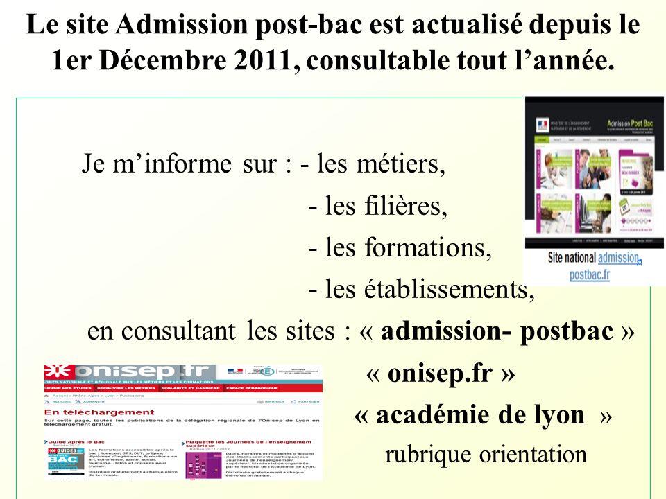 Le site Admission post-bac est actualisé depuis le 1er Décembre 2011, consultable tout l'année. Je m'informe sur : - les métiers, - les filières, - le