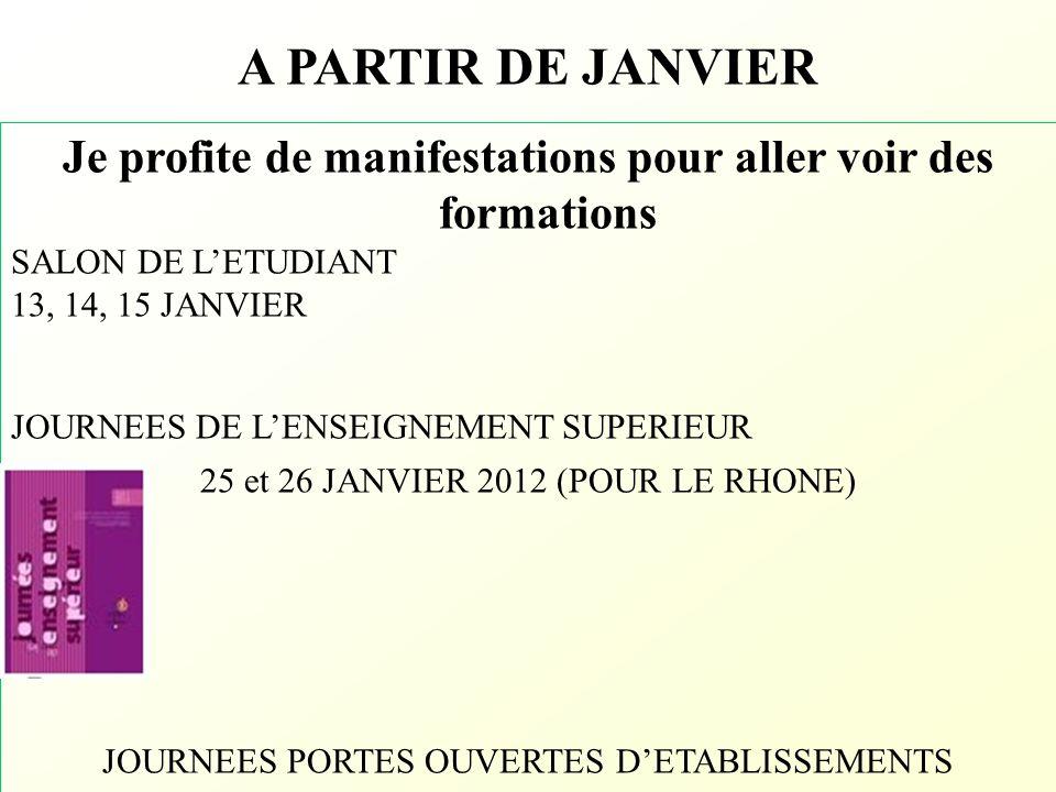 A PARTIR DE JANVIER Je profite de manifestations pour aller voir des formations SALON DE L'ETUDIANT 13, 14, 15 JANVIER JOURNEES DE L'ENSEIGNEMENT SUPE