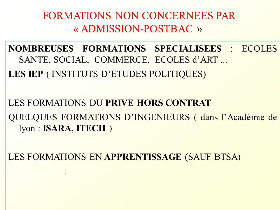 FORMATIONS NON CONCERNEES PAR « ADMISSION-POSTBAC » NOMBREUSES FORMATIONS SPECIALISEES : ECOLES SANTE, SOCIAL, COMMERCE, ECOLES d'ART... LES IEP ( INS