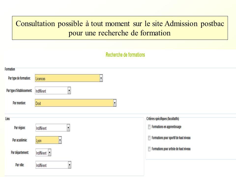 Consultation possible à tout moment sur le site Admission postbac pour une recherche de formation