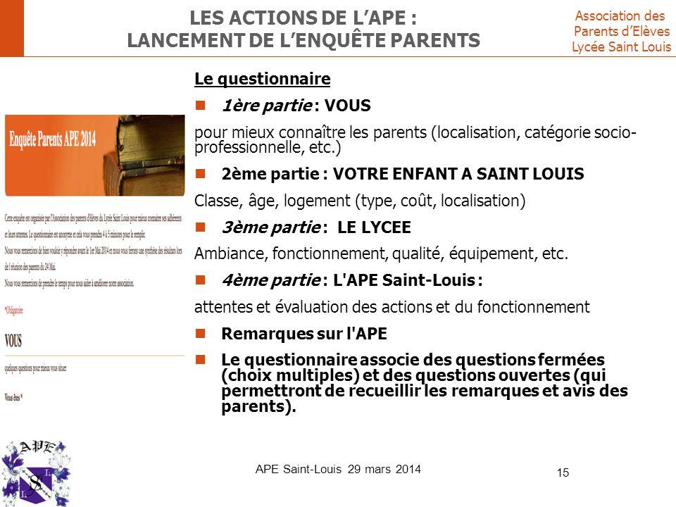 Association des Parents d'Elèves Lycée Saint Louis LES ACTIONS DE L'APE : LANCEMENT DE L'ENQUÊTE PARENTS Le questionnaire 1ère partie : VOUS pour mieu