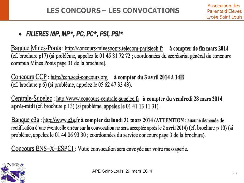 Association des Parents d'Elèves Lycée Saint Louis LES CONCOURS – LES CONVOCATIONS 20 APE Saint-Louis 29 mars 2014