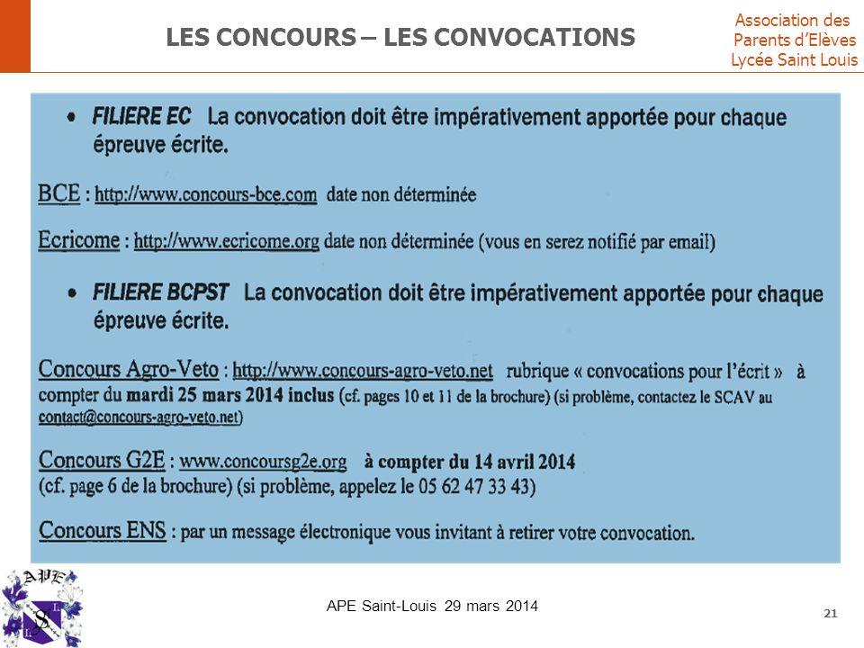 Association des Parents d'Elèves Lycée Saint Louis LES CONCOURS – LES CONVOCATIONS 21 APE Saint-Louis 29 mars 2014
