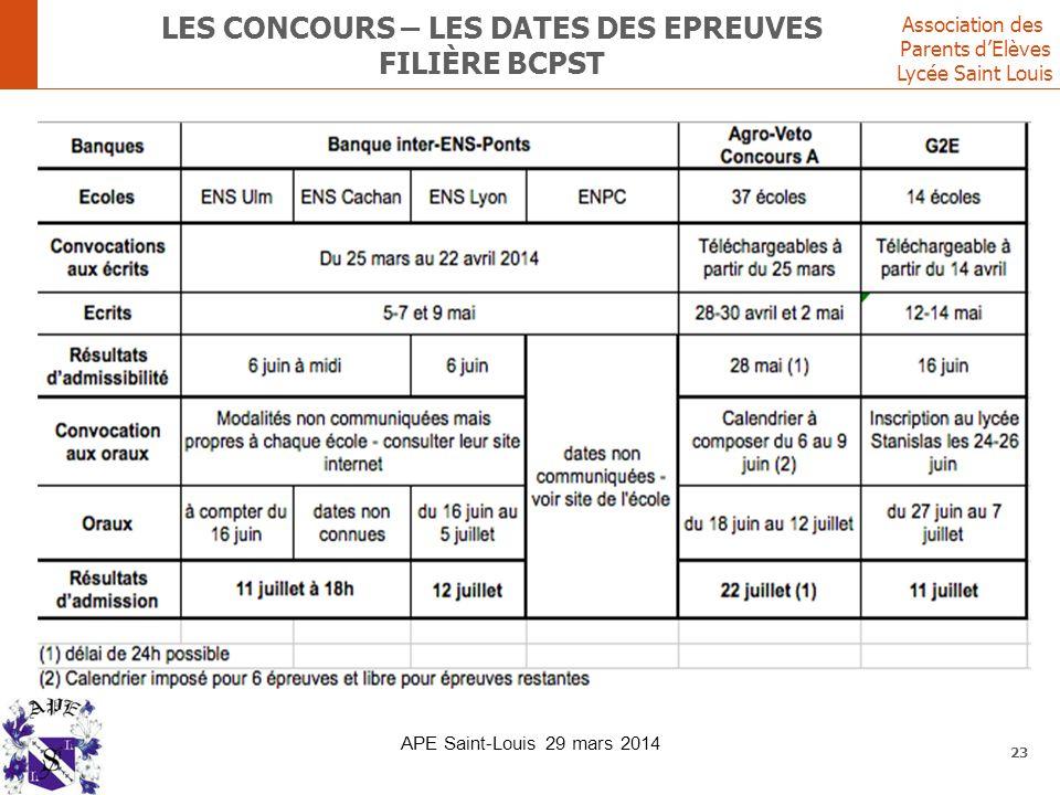 Association des Parents d'Elèves Lycée Saint Louis LES CONCOURS – LES DATES DES EPREUVES FILIÈRE BCPST 23 APE Saint-Louis 29 mars 2014