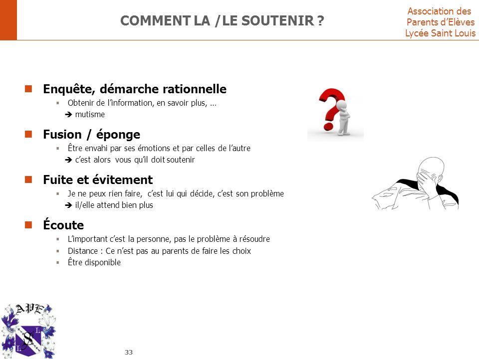 Association des Parents d'Elèves Lycée Saint Louis COMMENT LA /LE SOUTENIR ? Enquête, démarche rationnelle  Obtenir de l'information, en savoir plus,