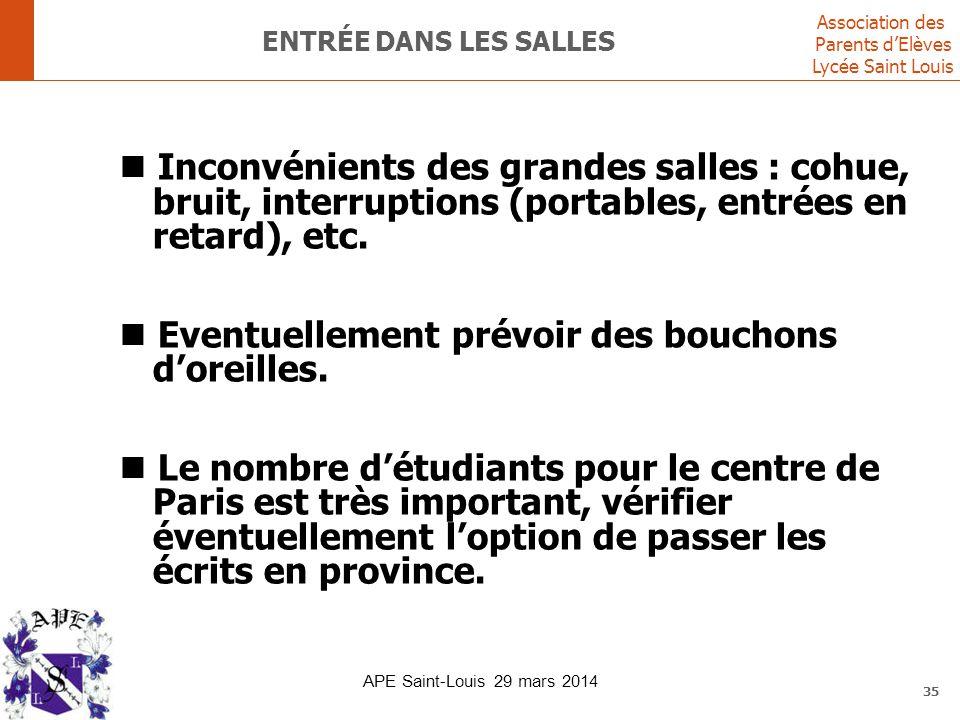 Association des Parents d'Elèves Lycée Saint Louis 35 ENTRÉE DANS LES SALLES Inconvénients des grandes salles : cohue, bruit, interruptions (portables