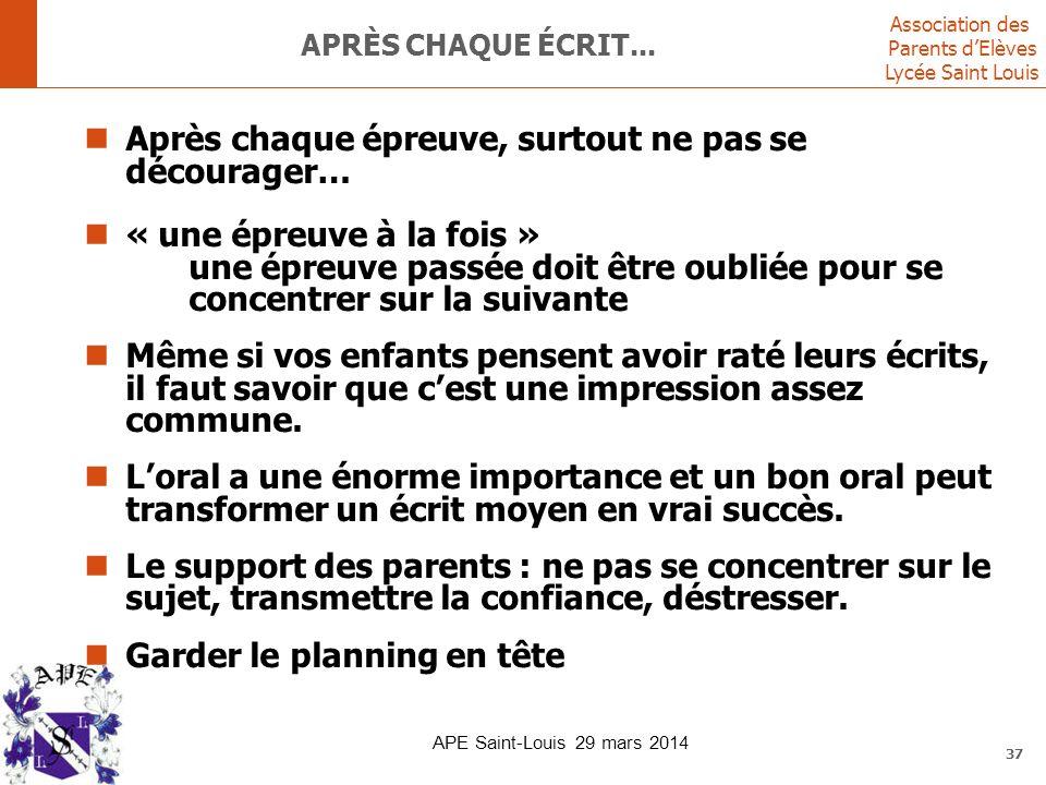 Association des Parents d'Elèves Lycée Saint Louis 37 APRÈS CHAQUE ÉCRIT... Après chaque épreuve, surtout ne pas se décourager… « une épreuve à la foi